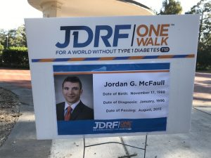 Jordan McFaull JDRF One Walk sign